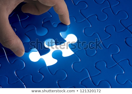 Сток-фото: Jigsaw Puzzle Piece Missing Light Glowing Solution Solve The Problem