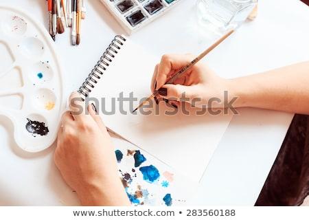 Proces malarstwo palety szczotki strony wody Zdjęcia stock © MarySan