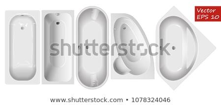 Top view moderno vasca da bagno isolato bianco Foto d'archivio © ozaiachin