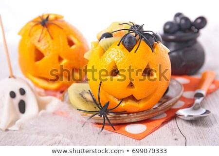 Halloween gyümölcssaláta ősz pók saláta szőlő Stock fotó © M-studio