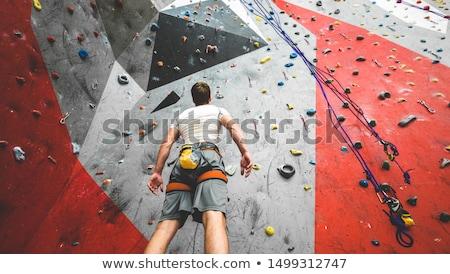 genç · tırmanma · yukarı · kaya · uçurum - stok fotoğraf © deandrobot