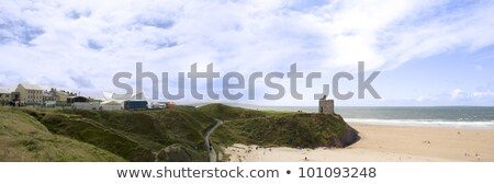 panoramic view of ballybunion beach and cliff stock photo © morrbyte