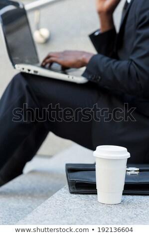 moço · usando · laptop · sessão · escada · ao · ar · livre · jovem - foto stock © deandrobot