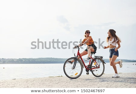 two girls relax biking stock photo © ongap