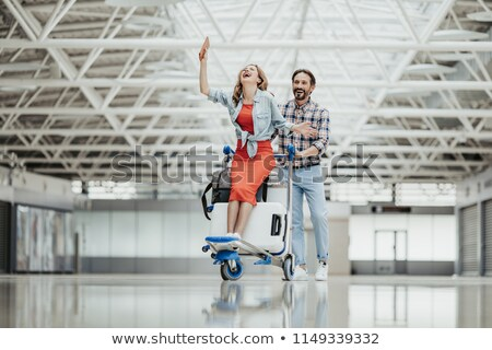 vrolijk · jongeren · permanente · landingsbaan · vliegtuig · portret - stockfoto © deandrobot