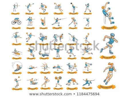 Sport icon of athlete doing synchronized swimming Stock photo © bluering