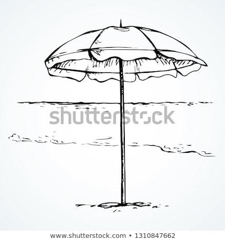 beach umbrella sketch icon stock photo © rastudio
