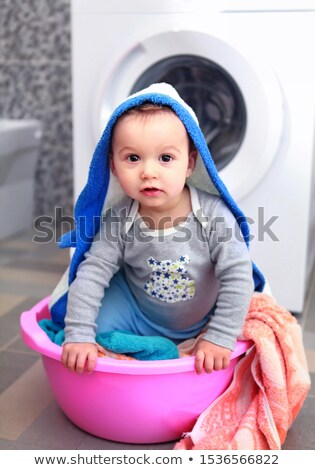 playful little boy in basin Stock photo © ssuaphoto