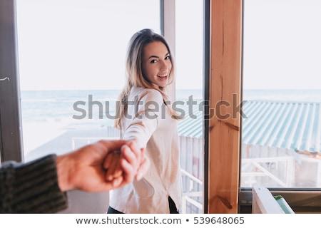 első · személy · kilátás · férfi · tart · kéz - stock fotó © deandrobot