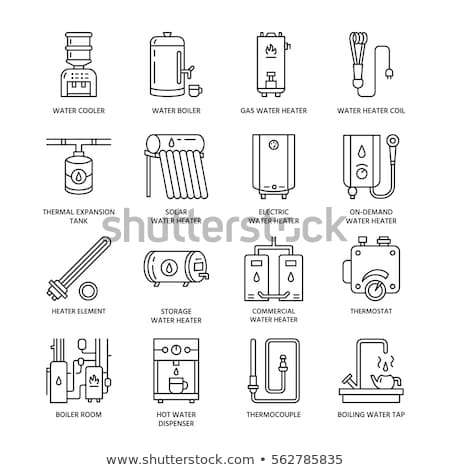 Water heater, boiler, thermostat, electric, gas, solar heaters and other house heating equipment lin stock photo © Nadiinko