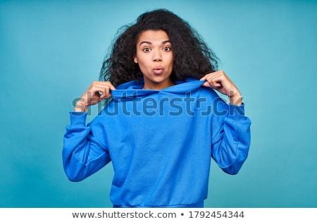 afrikai · fiatal · nő · pózol · kék · fotó · nő - stock fotó © neonshot