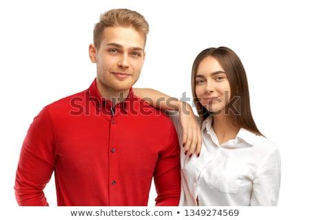 Blonde vrouw elleboog vrienden schouder glimlach Stockfoto © feedough