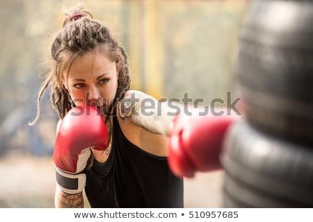 Foto stock: Jovem · sério · esportes · mulher · boxeador · imagem