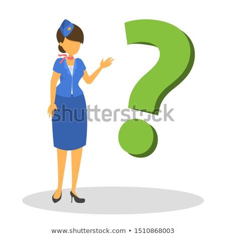 thinking stewardess with question mark stock photo © rastudio