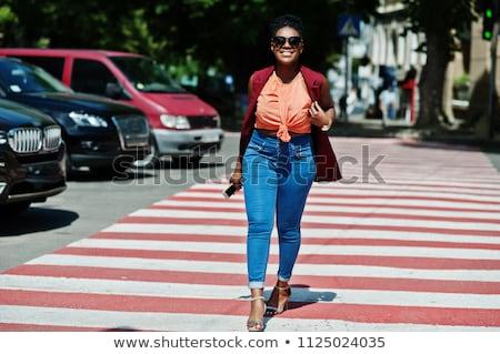 Nő gyalogos illusztráció utca kereszt segítség Stock fotó © adrenalina