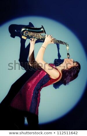 Spelen saxofoon gelukkig valentijnsdag liefde verhaal Stockfoto © Fisher