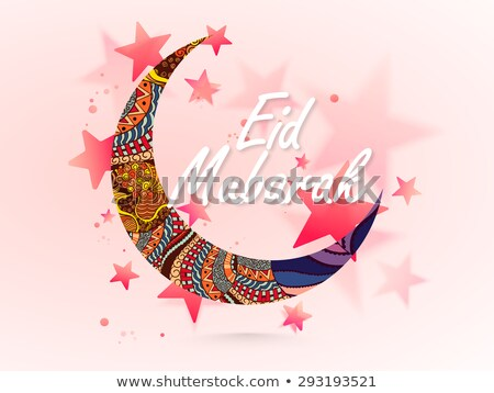 creative screscent moon with floral decoration for islamic eid f stock photo © sarts
