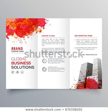 Soyut kırmızı mürekkep sıçramak broşür tasarım şablonu Stok fotoğraf © SArts