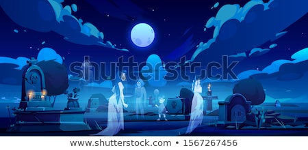Scene with ghost in graveyard Stock photo © bluering
