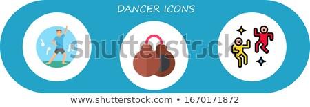 vector flat style illustration of couple dancing tango stock photo © curiosity