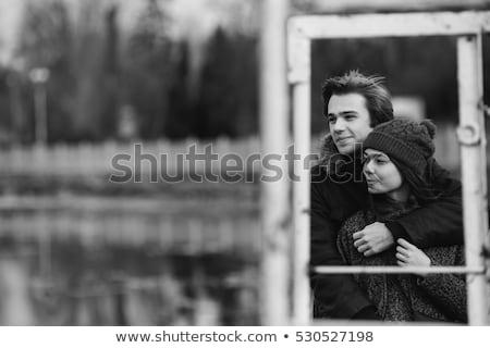 gyönyörű · pár · szórakozás · móló · tó · égbolt - stock fotó © tekso