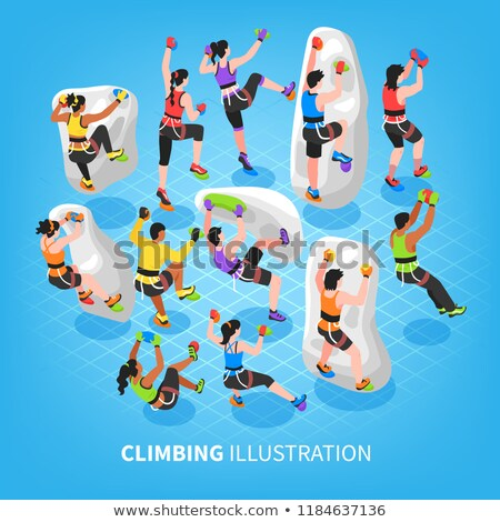 Trainer with athletes climbing wall in healthy club Stock photo © wavebreak_media