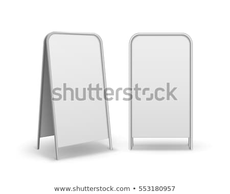 Metal Empty Blank Advertising Street Handheld Sandwich Stands Sidewalk Signs Isolated on White Backg Stock photo © pikepicture