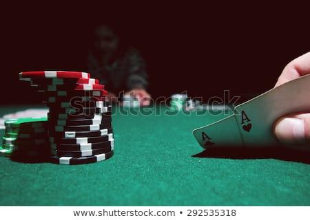 Combinação cartas de jogar cassino dois aces bokeh Foto stock © m_pavlov