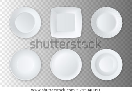 Stock photo: Realistic Plate Vector. Closeup Porcelain Mock Up Tableware Isolated On Transparency Background. Cle