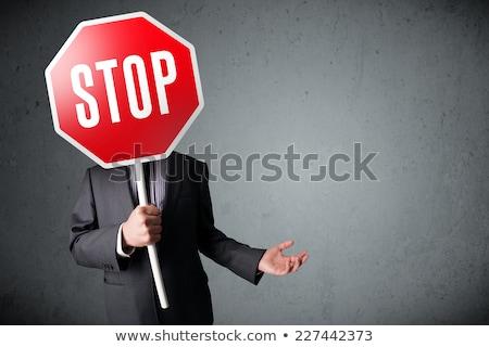 Stok fotoğraf: Genç · kafkas · işadamı · durdurmak · yol · işareti