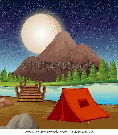 Kempingezés föld sátor folyó éjszaka illusztráció Stock fotó © colematt