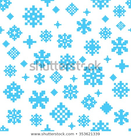 Pixel snowflake, vector illustration. stock photo © kup1984