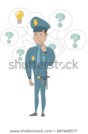 Young hispanic policeman having an idea. Stock photo © RAStudio