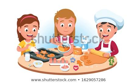 Kızlar erkek pişirme gıda çift şef Stok fotoğraf © IS2