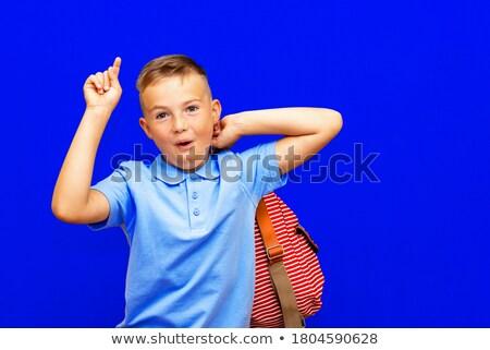 Little caucasian schoolboy pointing forefinger up. Stock photo © RAStudio