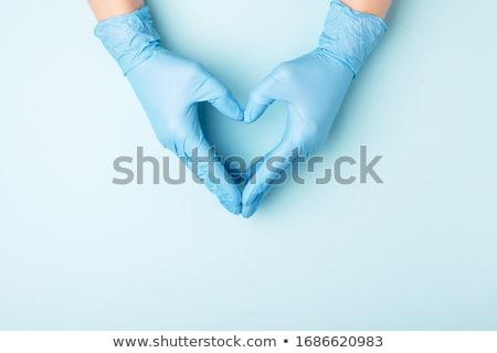 szív · sebészek · kéz · piros · orvos · vér - stock fotó © CsDeli