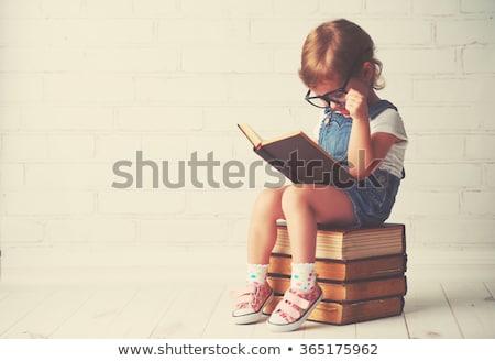 Kid Girl Glasses Books Stock photo © lenm