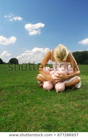 Сток-фото: женщину · Банки · деньги · трава · природы