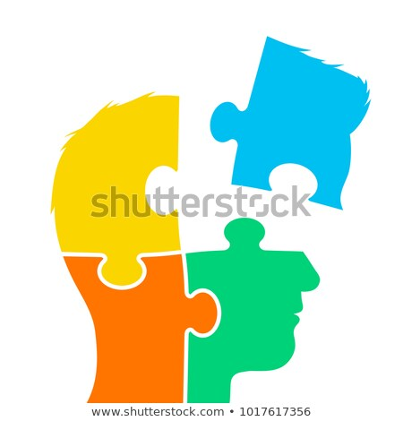 Stock photo: Head of a man made of four jigsaw puzzle pieces