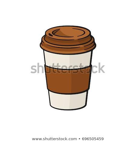 Сток-фото: бумаги · чашку · кофе · наклейку · далеко · продовольствие