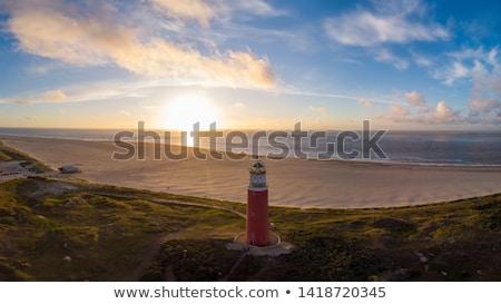 Stok fotoğraf: Deniz · feneri · Hollanda · tuğla · yol · mavi · bulutlu