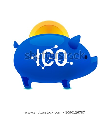 Pig money box icon with falling bitcoin, ICO bitcoin, Initial coin offering, ICO Token production pr Stock photo © ikopylov