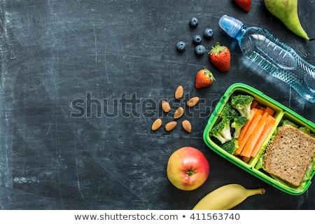 ebéd · doboz · egészséges · étkezés · fa · eper · saláta - stock fotó © M-studio