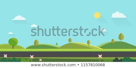 luchtfoto · auto · weg · zonsondergang · platteland · punt - stockfoto © joyr
