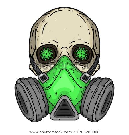 Skull in Respirator. Skeleton head and Gas mask green. Vector il Stock photo © popaukropa