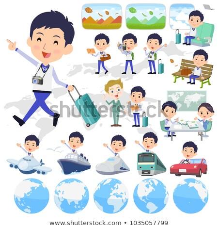 Store staff Blue uniform men_travel stock photo © toyotoyo