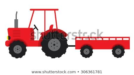 Vermelho desenho animado trator agrícola maquinaria carro Foto stock © Genestro
