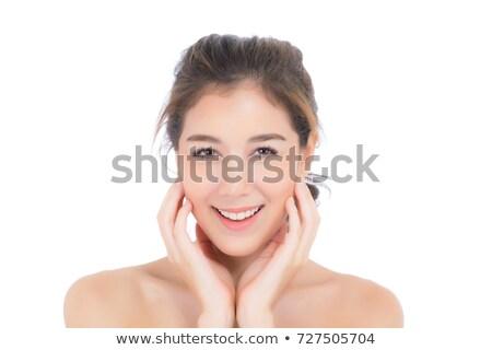 Jovem senhora mão bochecha retrato Foto stock © williv