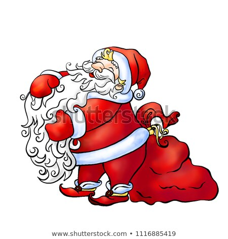 Santa Claus stroking his furry long beard near the large red bag Stock photo © heliburcka