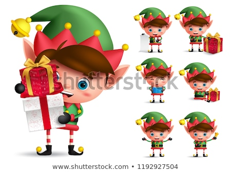 christmas elf with gift smiling character vector stock photo © andrei_